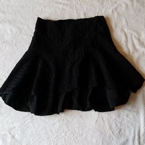 NWOT black cotton eyelet skirt